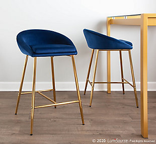 Matisse Counter Stool (Set of 2), Gold/Blue, rollover