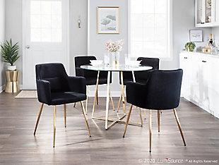 Andrew Velvet Dining Chair (Set of 2), Gold/Black, rollover