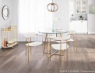 Demi Velvet Dining Chair (Set of 2), Gold/Cream, rollover