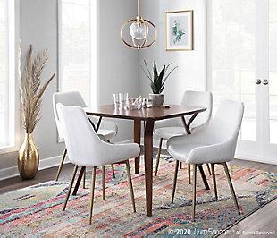 Diana Velvet Dining Chair (Set of 2), Brass/Cream, rollover