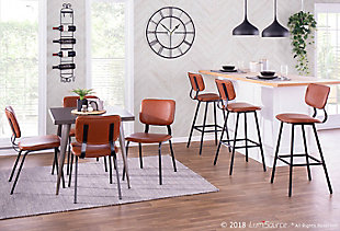 Foundry Dining Chair (Set of 2), Black/Cognac/Brown, rollover