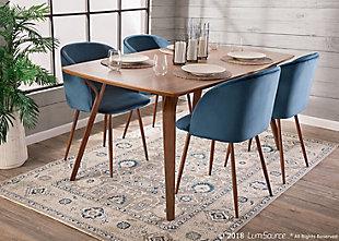 Fran Velvet Dining Chair (Set of 2), Walnut/Blue, rollover
