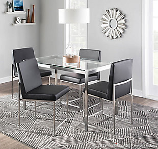 High Back Fuji Dining Chair (Set of 2), Stainless Steel/Black, rollover