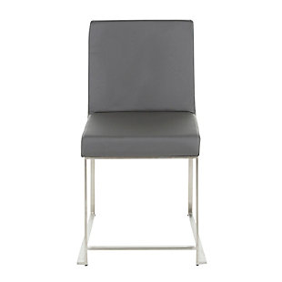 High Back Fuji Dining Chair (Set of 2), Stainless Steel/Gray, large