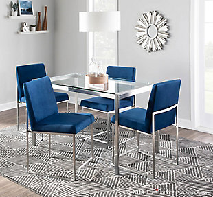 High Back Fuji Dining Chair (Set of 2), Stainless Steel/Blue, rollover