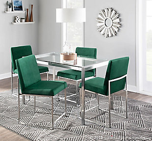 High Back Fuji Dining Chair (Set of 2), Stainless Steel/Green, rollover