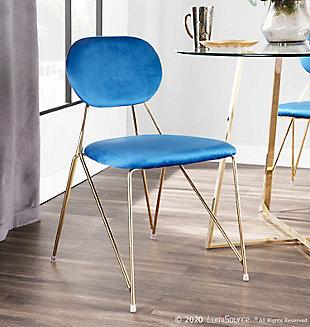 Gwen Velvet Dining Chair (Set of 2), Gold/Blue, rollover