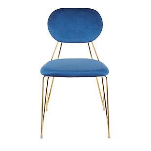 Gwen Velvet Dining Chair (Set of 2), Gold/Blue, large