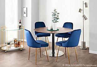 Marcel Velvet Dining Chair (Set of 2), Gold/Navy Blue, rollover
