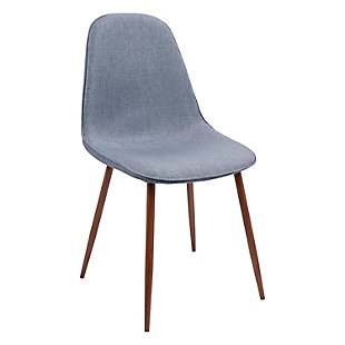 Pebble Dining Chair (Set of 2), Walnut/Blue, large