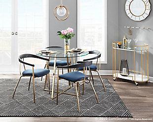 Vanessa Velvet Dining Chair (Set of 2), Gold/Blue/Black, rollover