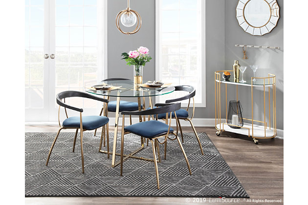 Vanessa Velvet Dining Chair Set Of 2, Ashley Furniture Blue Dining Room Chairs