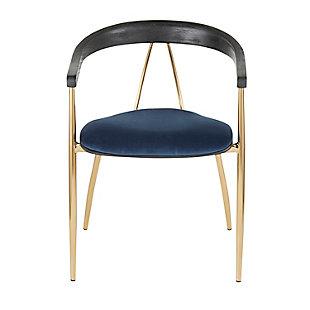 Vanessa Velvet Dining Chair (Set of 2), Gold/Blue/Black, large