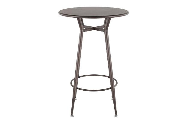 Clara Round Bar Height Table, Antique/Espresso, large