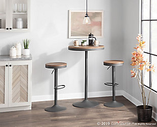 Dakota Adjustable Height Table, Gray/Brown, rollover
