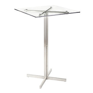 Fuji Square Bar Height Table, Stainless Steel/Clear, large