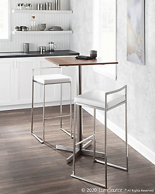Fuji Square Bar Height Table, Stainless Steel/Walnut, rollover