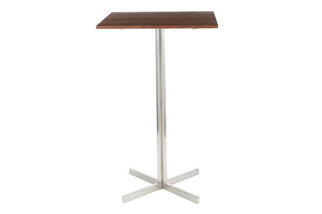 Fuji Square Bar Height Table, Stainless Steel/Walnut, large