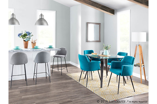 Folia Dining Table, Dark Gray/Clear, large