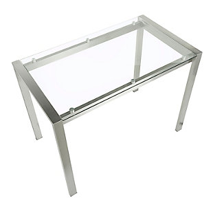 Fuji Counter Height Dining Table, Stainless Steel/Clear, large