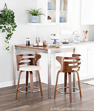 Fuji Counter Height Dining Table, Stainless Steel/Walnut, rollover
