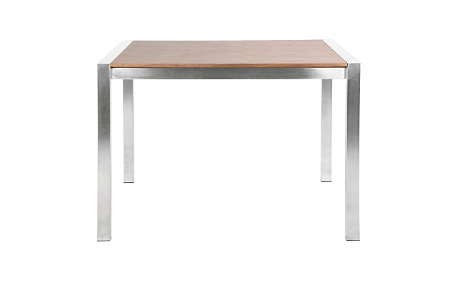 Fuji Counter Height Dining Table, Stainless Steel/Walnut, large