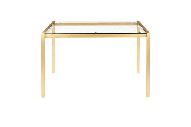 Fuji Dining Table, Gold/Clear, large