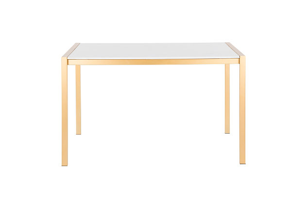 Fuji Dining Table, Gold/White Marble, large