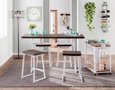 Geo Counter Height Dining Table, Vintage White/Espresso, large
