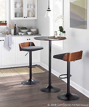 Pebble Adjustable Height Table, Black/Espresso, rollover