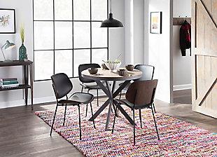X-Base Pedestal Dining Table, Gray/Medium Brown, rollover
