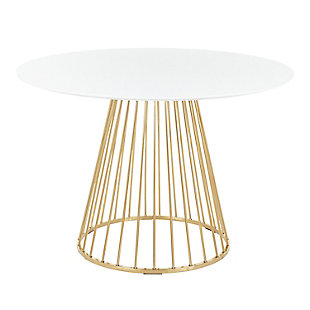 Canary Dining Table, Gold/White, large