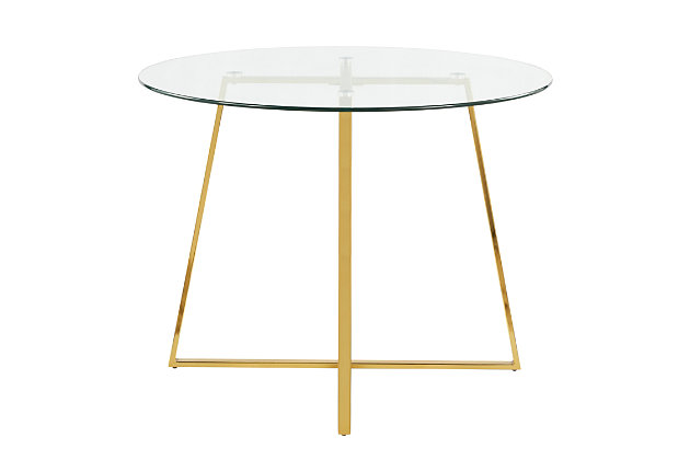Cosmo Dining Table, Gold/Clear, large