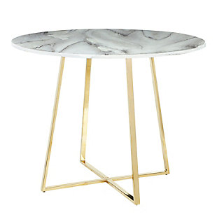 Cosmo Dining Table, Gold/White Marble, large