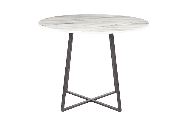Cosmo Dining Table, Black/White Marble, large