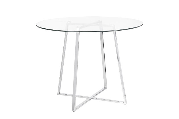 Cosmo Dining Table, Chrome/Clear, large