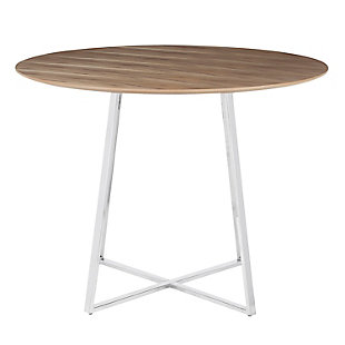 Cosmo Dining Table, Chrome/Walnut, large