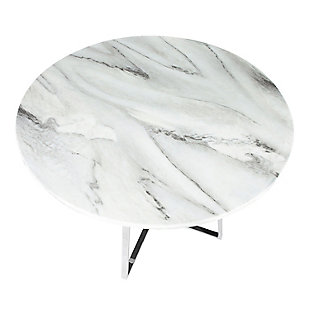 Cosmo Dining Table, Chrome/White Marble, large