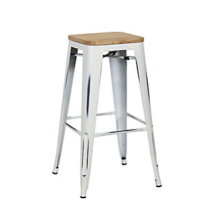 Euro Style Danne-B Bar Stool (Set of 4), White, large