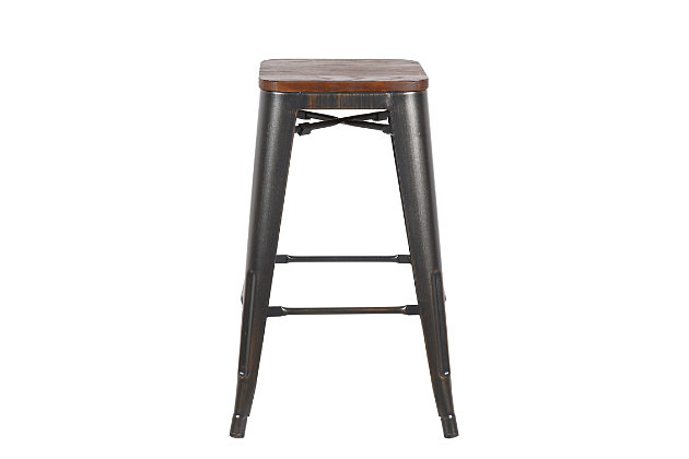 Euro Style Danne-C Counter Stool (Set of 4), Black, large