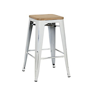 Euro Style Danne-C Counter Stool (Set of 4), White, rollover