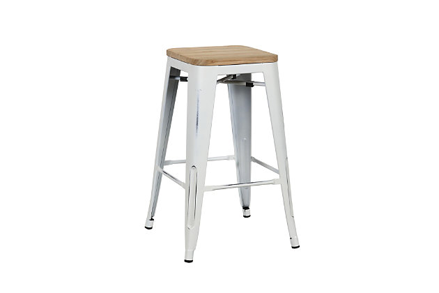 Euro Style Danne-C Counter Stool (Set of 4), White, large