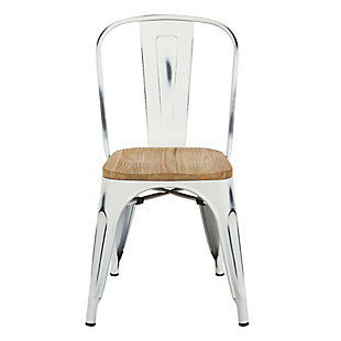 Euro Style Danne Stacking Dining Chair (Set of 4), White, large