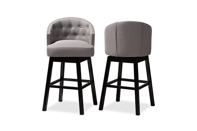 Theron Transitional Gray Fabric Upholstered Wood Swivel Bar Stool Set, Gray, large