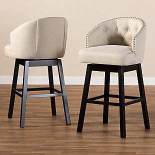 Theron Transitional Light Beige Fabric Upholstered Wood Swivel Bar Stool Set, Beige, rollover