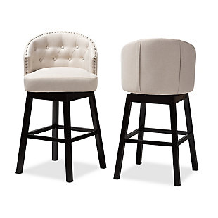 Theron Transitional Light Beige Fabric Upholstered Wood Swivel Bar Stool Set, Beige, large