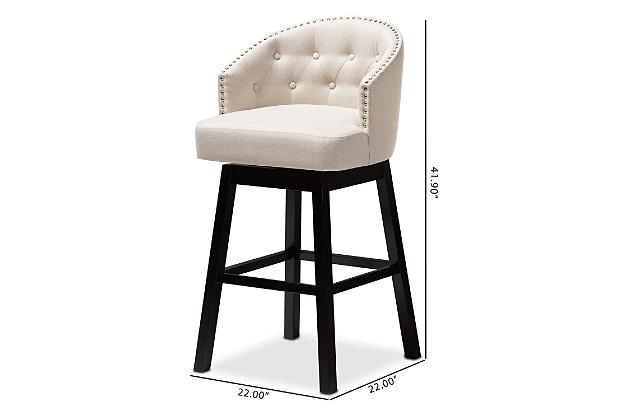 Theron Transitional Light Beige Fabric Upholstered Wood Swivel Bar Stool Set, Beige, large