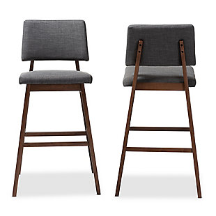 Colton Mid-Century Modern Dark Gray Fabric Upholstered and Walnut-Finished Wood Bar Stool Set, Dark Gray, large