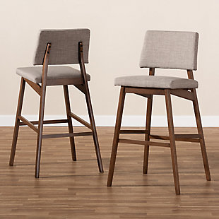 Colton Mid-Century Modern Light Gray Fabric Upholstered and Walnut-Finished Wood Bar Stool Set, Beige, rollover