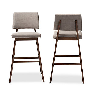 Colton Mid-Century Modern Light Gray Fabric Upholstered and Walnut-Finished Wood Bar Stool Set, Beige, large